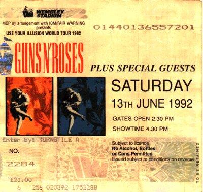 Резултат с изображение за ticket for guns n roses 90s
